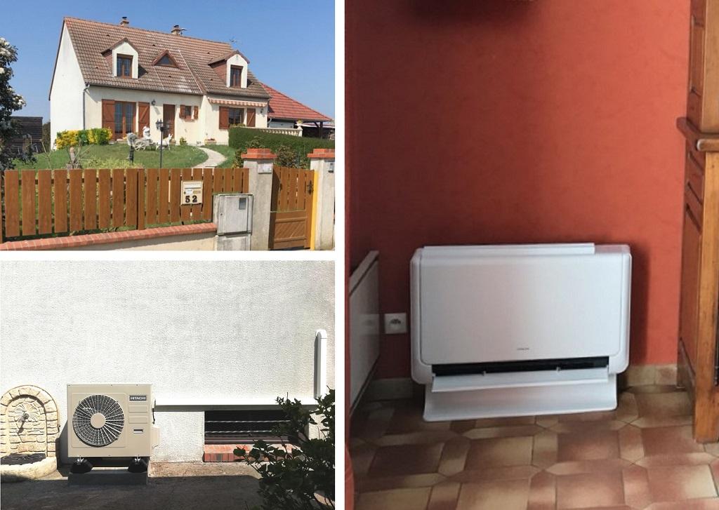 Installation d'une pompe à chaleur Air-air Hitachi de type console à Tavers dans le Loiret