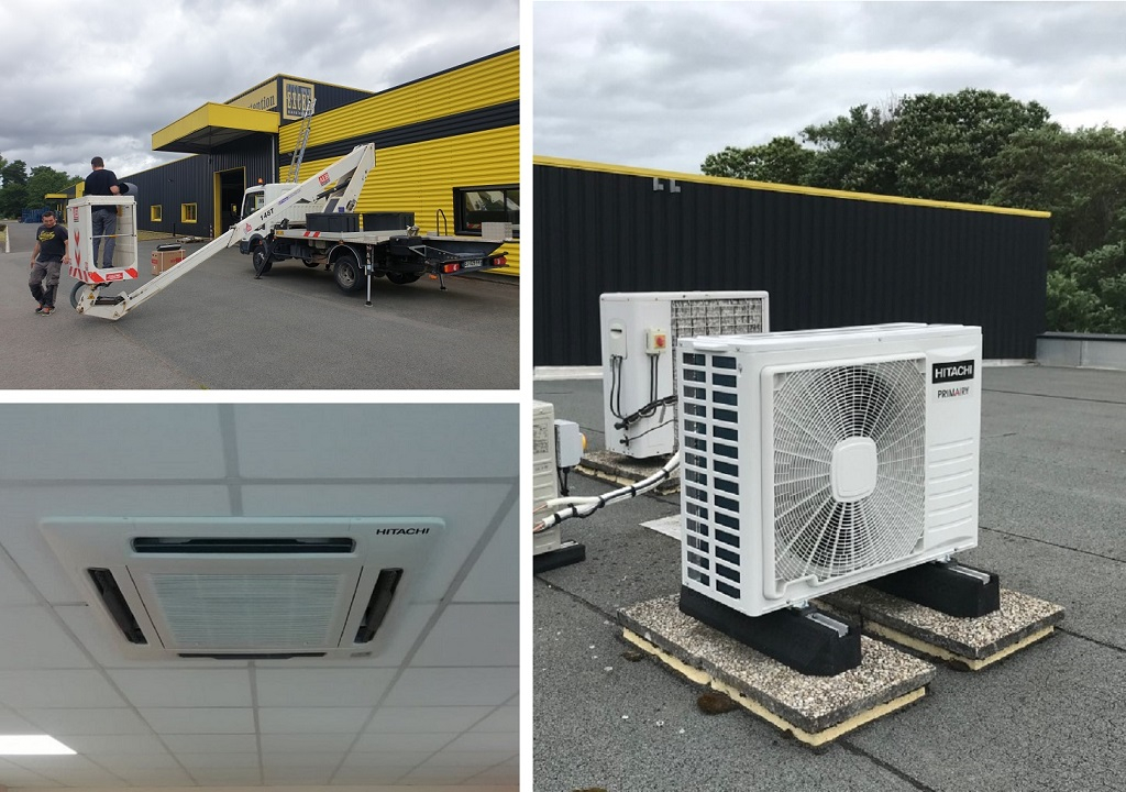 Installation d'un système de pompe à chaleur air/air de marque Hitachi et d'une Climatisation de type cassette Hitachi Primairy