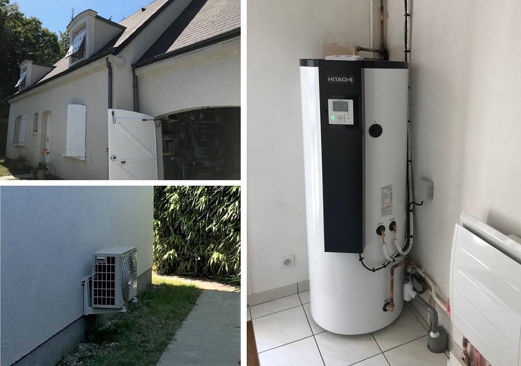 Installation d'un chauffe-eau thermodynamique Hitachi Yutampo 2 à Saint Jean-de-Braye dans le Loiret