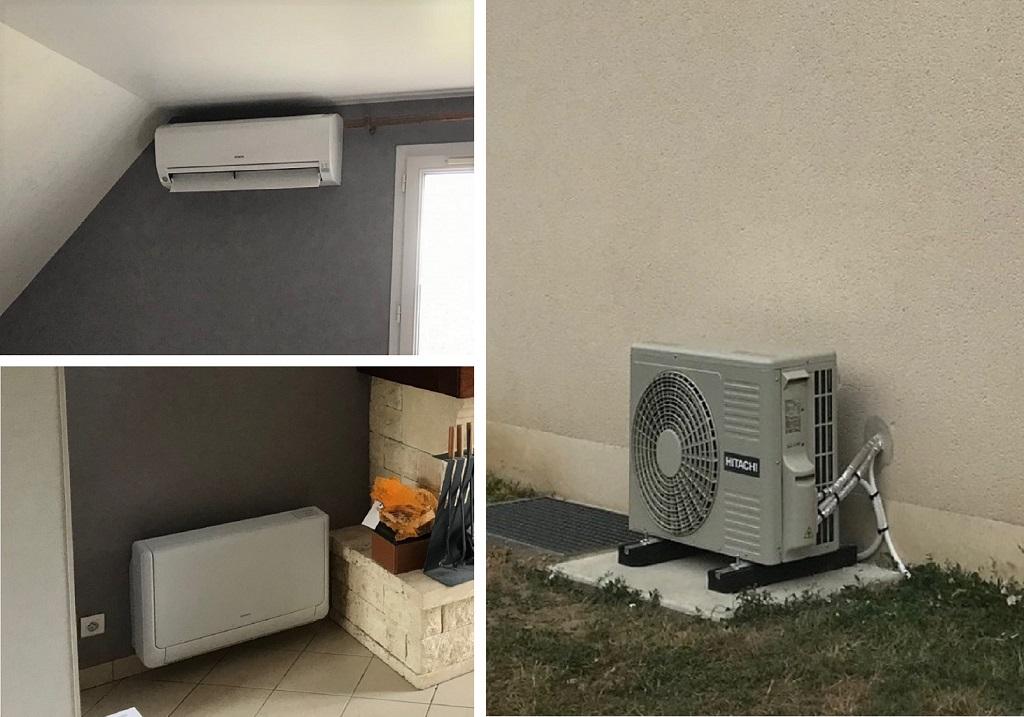 Installation d'un système de pompe à chaleur air/air réversible (climatisation) Hitachi et d'une console Shirokuma Hitachi