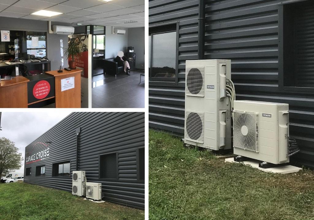 Installation d'un système de pompe à chaleur air/air de la marque Hitachi modèle Mokaï dans le Loiret