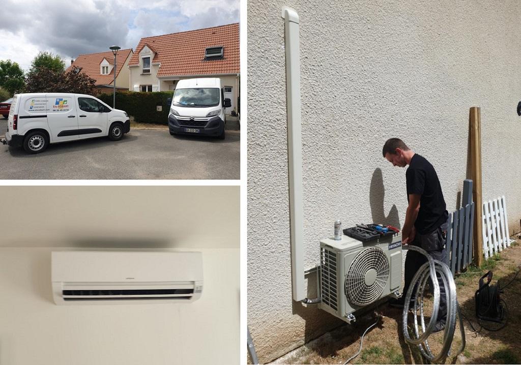 Installation d'un système de pompe à chaleur air/air de marque Hitachi à Sandillon dans le Loiret