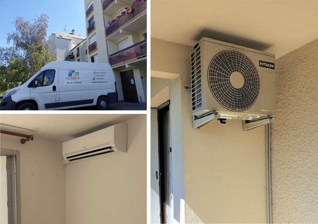 Installation d'un système de pompe à chaleur air/air de marque Hitachi à Orléans dans le Loiret