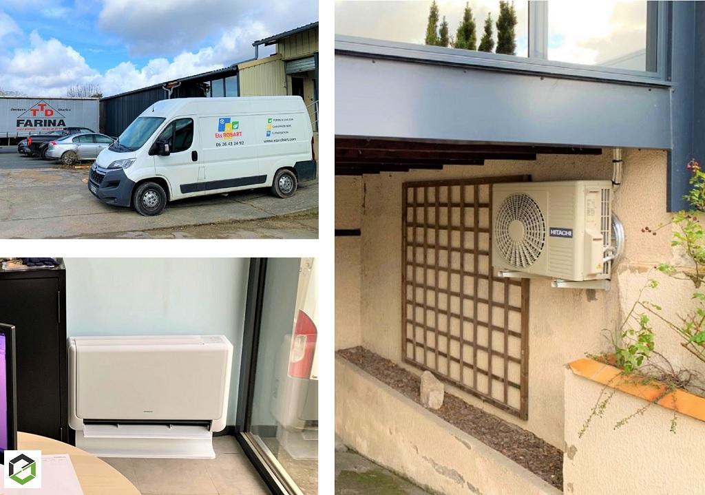 Installation d'un système de pompe à chaleur air/air (climatisation) de type console Shirokuma Hitachi