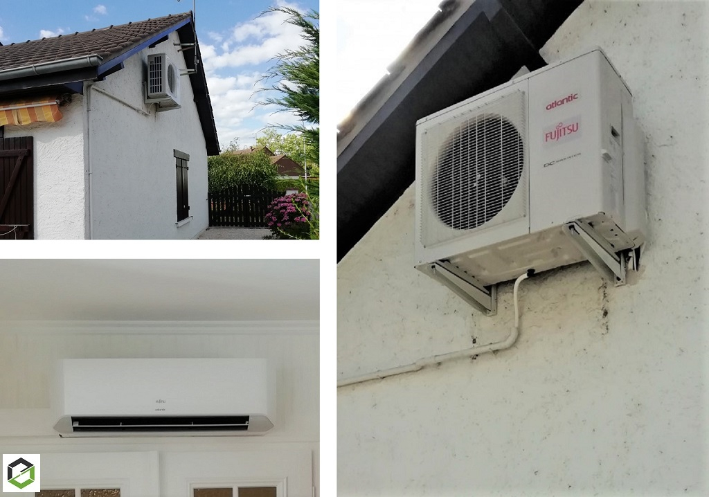 Installation d'un système de pompe à chaleur air/air (climatisation) réversible de la marque Atlantic Fujitsu-Loiret (45)