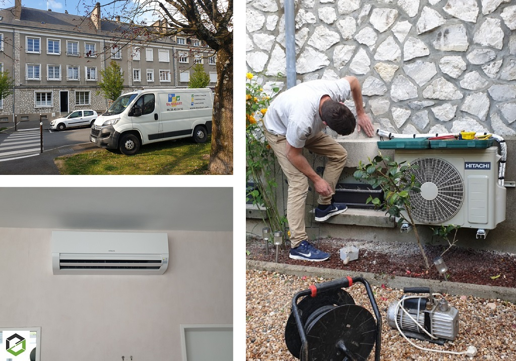 Installation d'un système de pompe à chaleur air/air (climatisation réversible) gamme Dodaï de marque Hitachi-Loiret (45)
