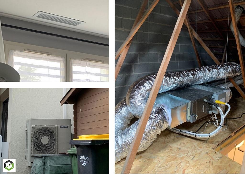Installation d'un système de pompe à chaleur air/air (climatisation) modèle Mokaï de la marque Hitachi -Loiret (45)