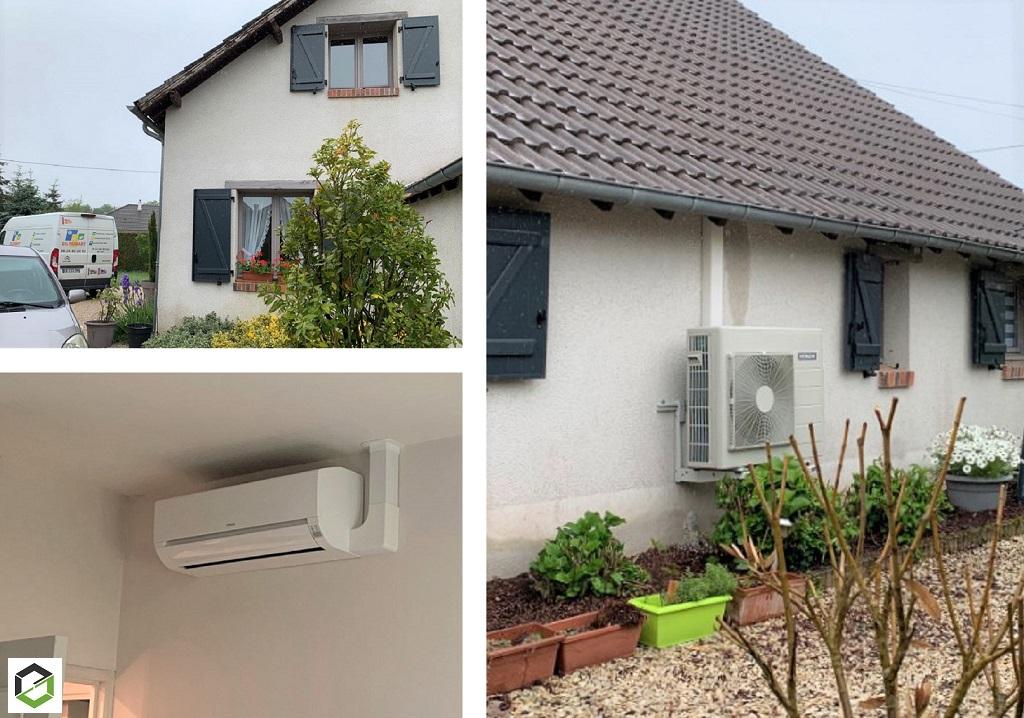 Installation d'un système de pompe à chaleur air/air (climatisation) modèle Dodaï de la marque Hitachi -Loiret (45)
