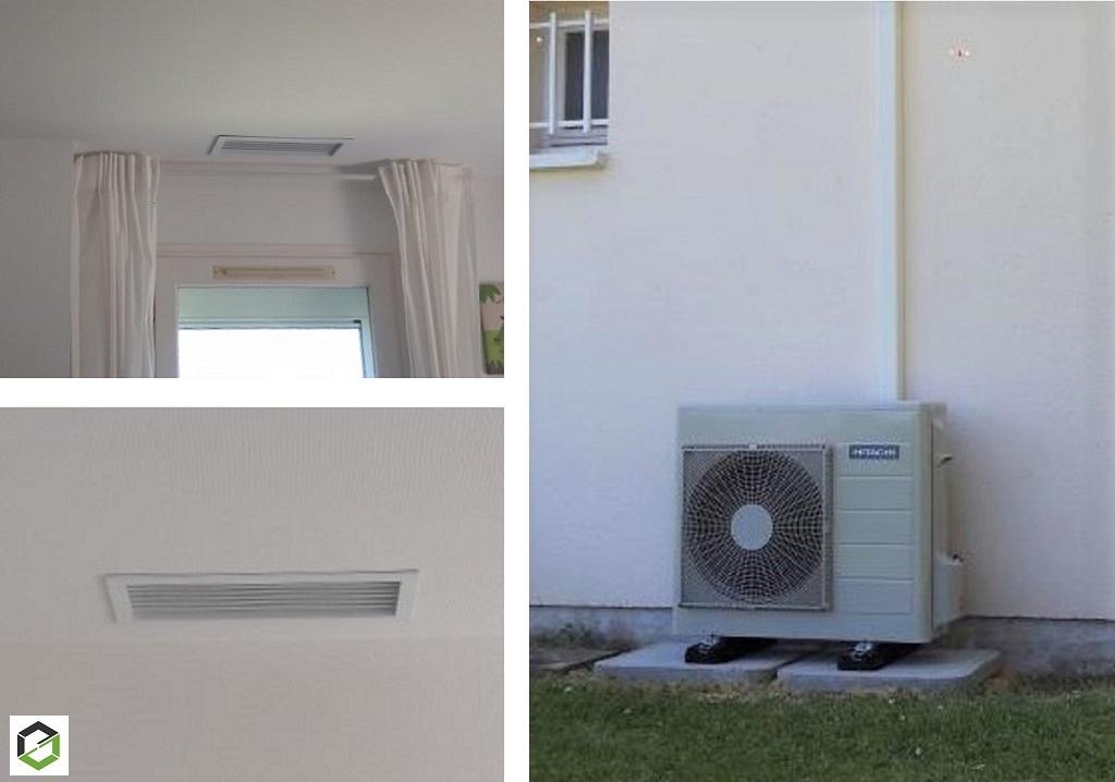 Installation d'un système de chauffage central par gainable - pompe à chaleur air/air Hitachi -Loiret (45)