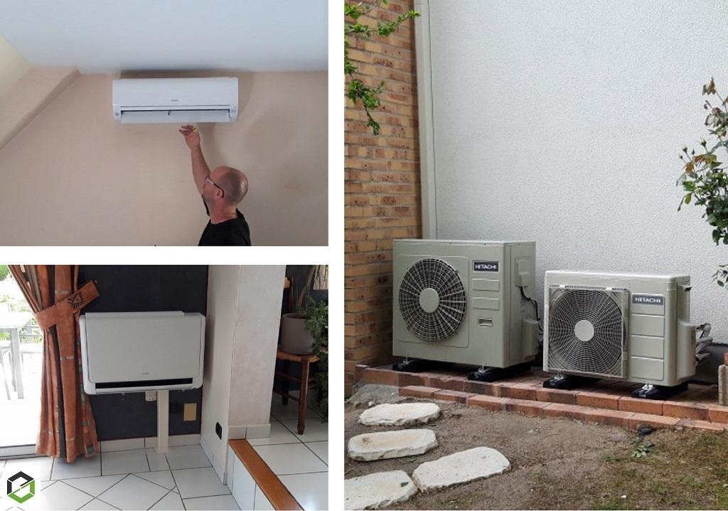 Installation de deux systèmes de pompes à chaleur air/air (climatisation) mono-split et multi-splits Hitachi