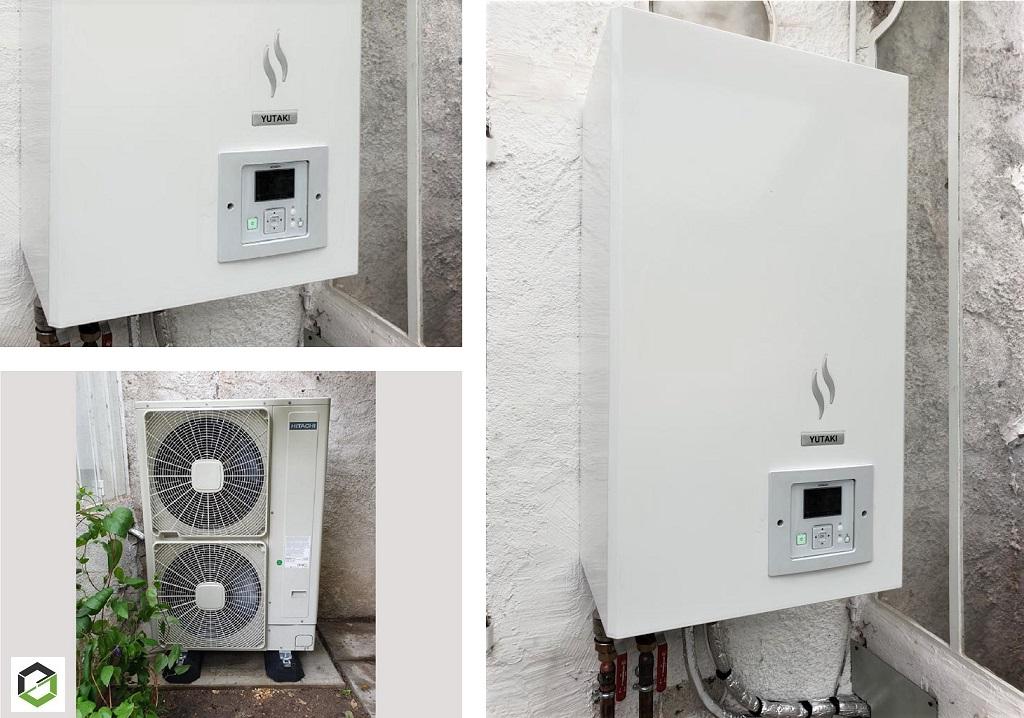 Installation d'un système de pompe à chaleur air/eau modèle Yutaki S de la marque Hitachi -Loiret (45)