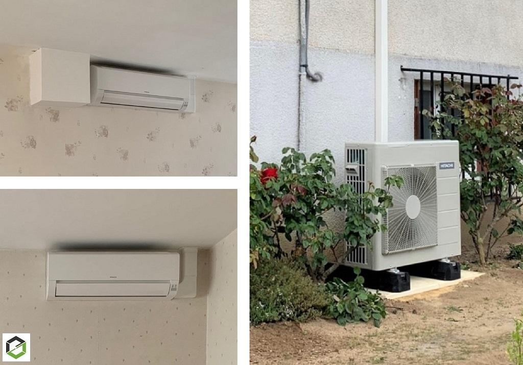 Installation d'un système de pompe à chaleur air/air (climatisation) modèle Dodaï de la marque Hitachi