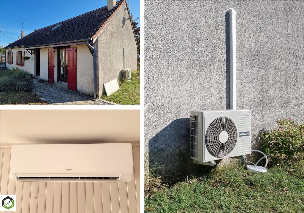 Installation d'une climatisation réversible Hitachi modèle Takai - Entreprise RGE QualiPac-Loiret (45)