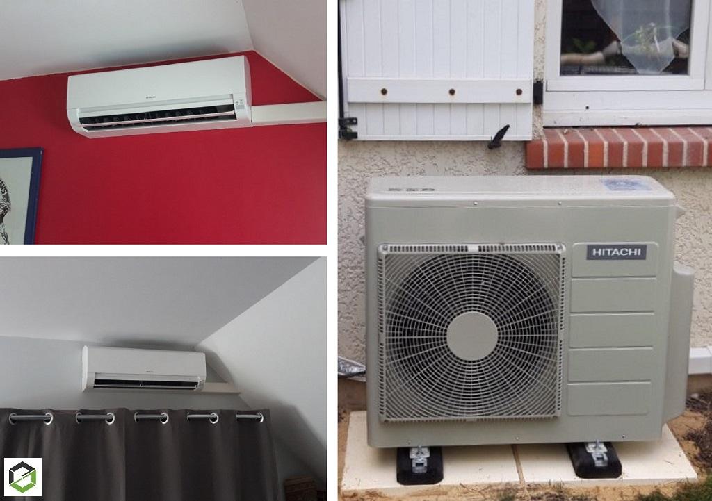 Installation d'une climatisation réversible Hitachi modèle multi-splits Dodaï - Artisan RGE QualiPac-Loiret (45)