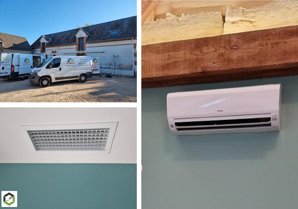 Installation d'un système de chauffage central par gainable et d'un multi-splits Hitachi - Artisan RGE QualiPAC-Loiret (45)