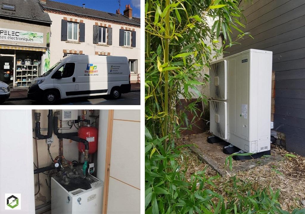 Installation d'une pompe à chaleur air/eau monobloc Hitachi modèle Yutaki M premium - Entreprise RGE QualiPAC-Loiret (45)