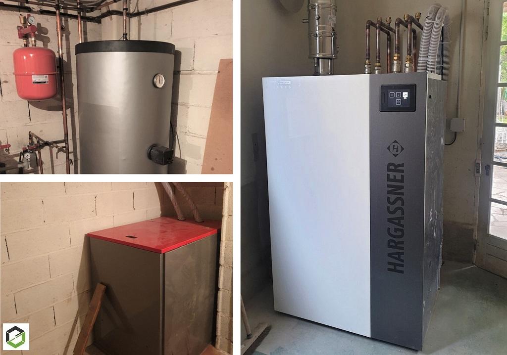 Installation d'une chaudière à granulés de bois Hargassner - Entreprise RGE QualiBois-Loiret (45)