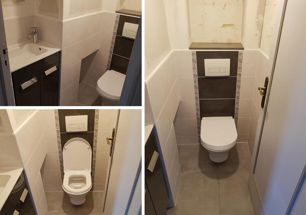 Rénovation d'un toilette, avec WC suspendu.-Oise (60)