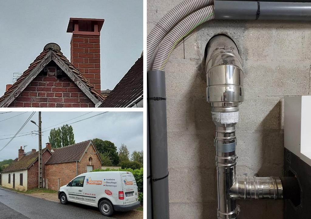 Création d'un conduit de cheminée avec une souche de toiture imitation brique-Oise (60)