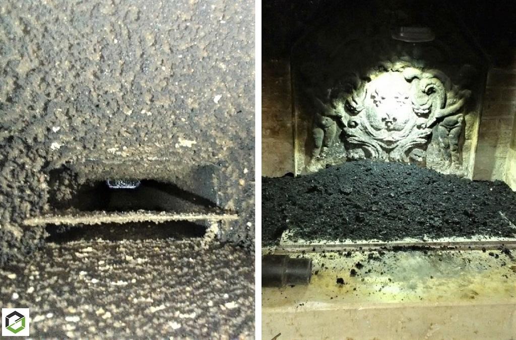 RAMONAGE par camion équiper d'une cheminée ouvert.