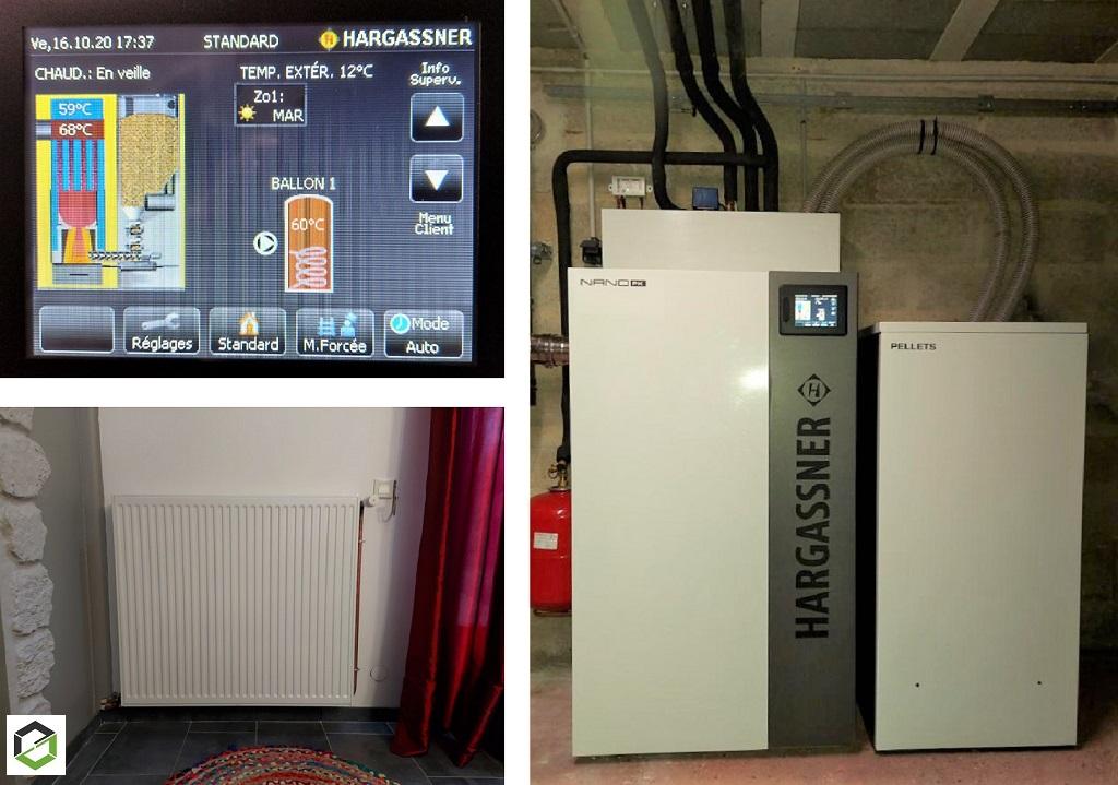 Création d'un réseau de chauffage central avec la mise en place d'une chaudière à granulés HARGASSNER - artisan RGE