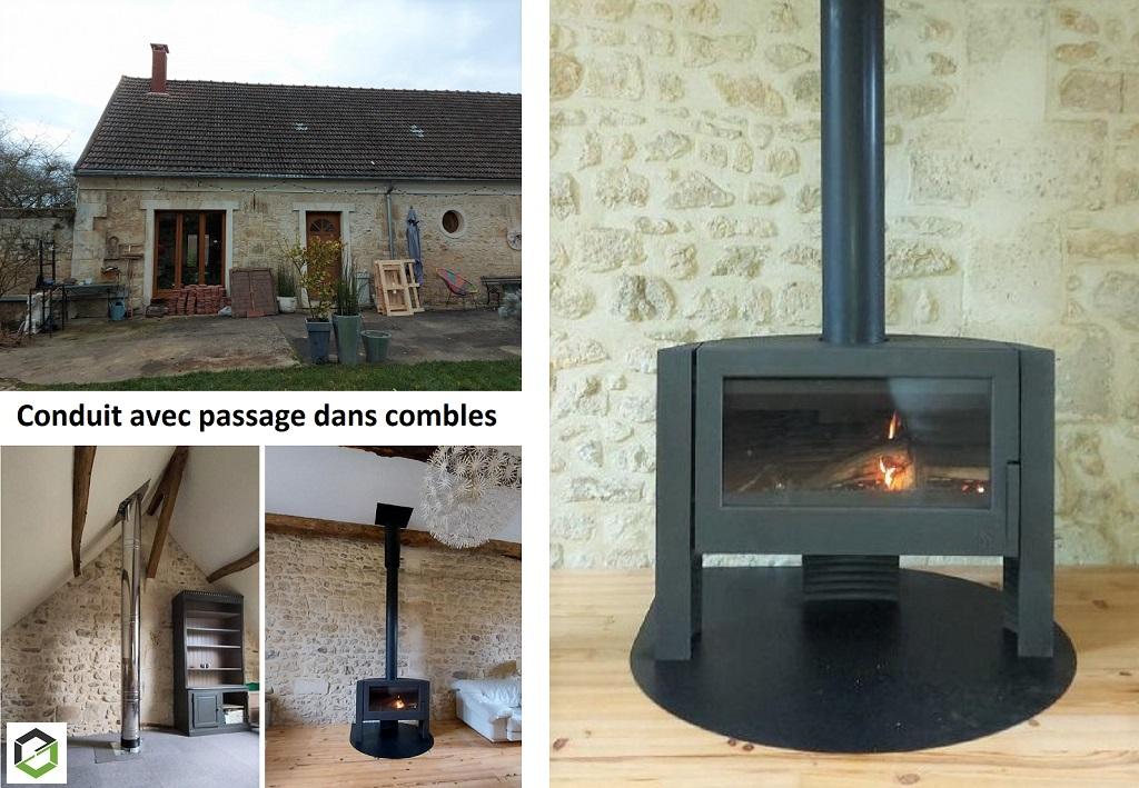 Création d'un conduit de cheminée avec installation d'un poêle à bois INVICTA par une entreprise RGE