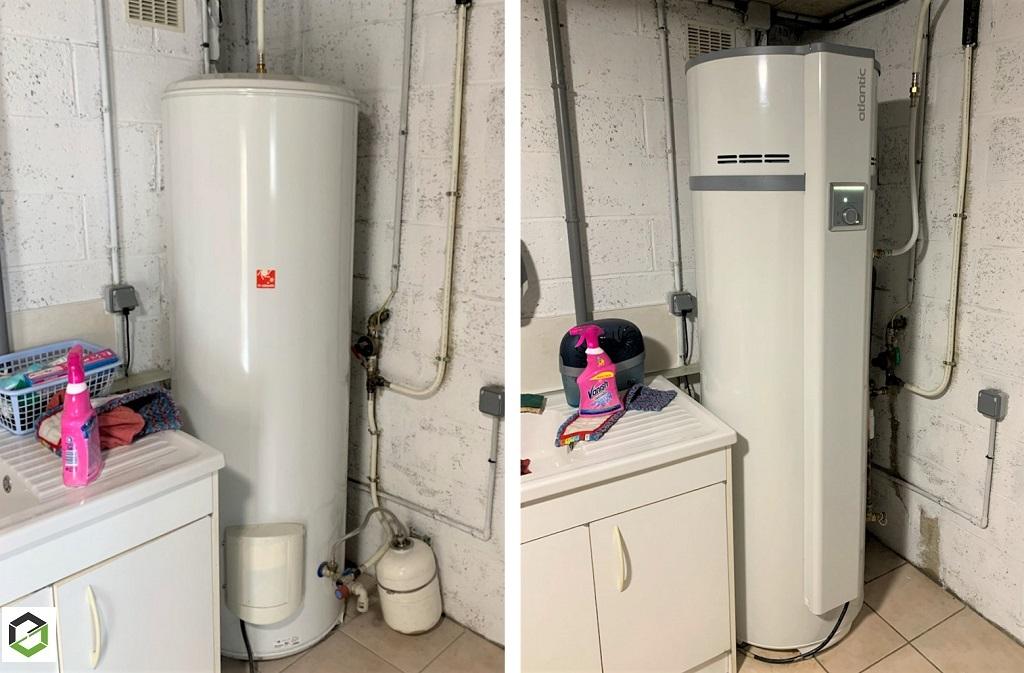 Remplacement d'un chauffe-eau électrique par chauffe-eau thermodynamique ATLANTIC EGEO 270 Litres par ARTISAN RGE