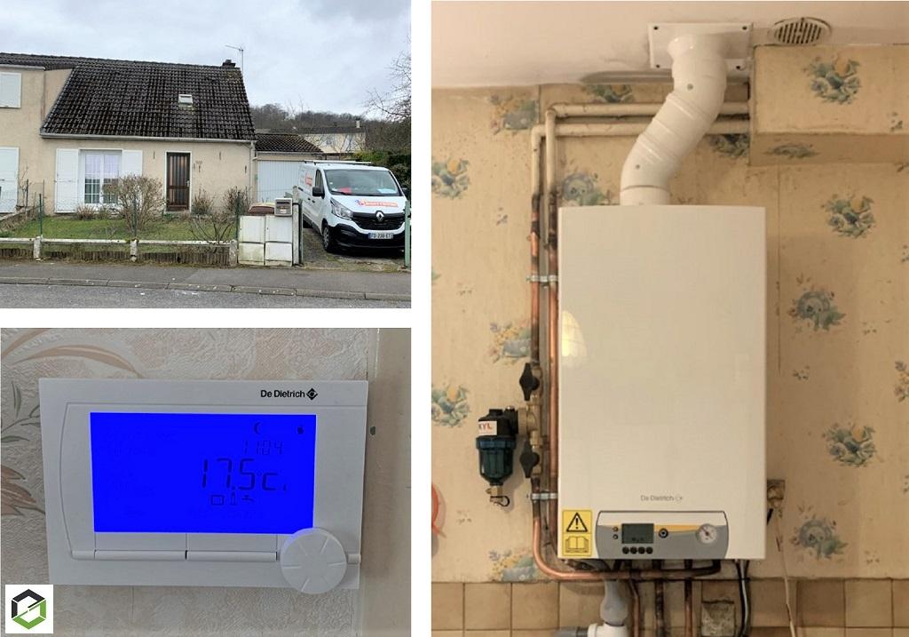Remplacement d'une chaudière gaz naturel et mise en place d'une chaudière gaz à condensation DE DIETRICH MCR 24/28 MI par installateur RGE