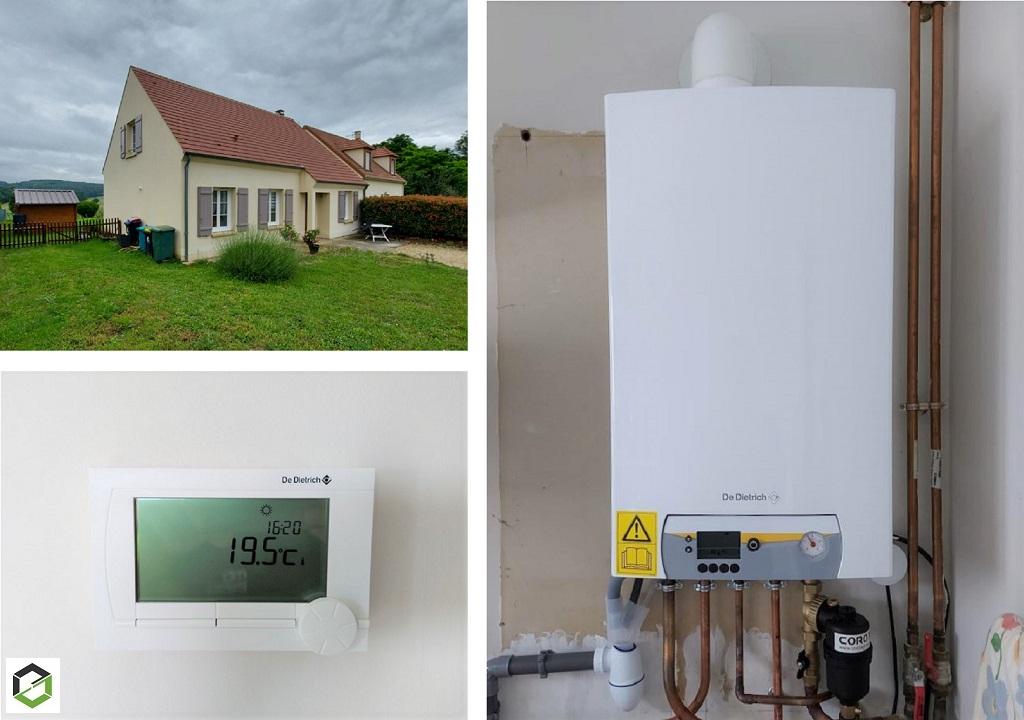 Installation d'une chaudière gaz à condensation DE DIETRICH par une entreprise RGE.