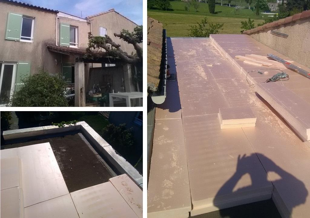 Isolation d'un toit terrasse avec rajout d'une toiture en PST au dessus