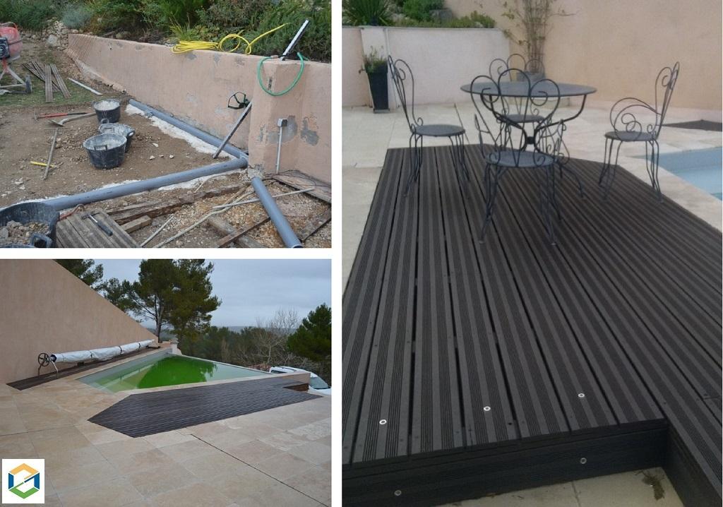 Agrandissement d'une terrasse en travertin et bois avec caniveau  invisible