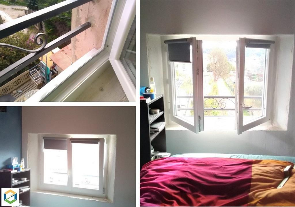 Remplacement d'une vieille fenêtre pour une nouvelle en oscillo-battante et ajout d'un garde corps