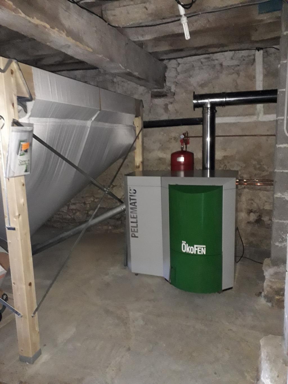 Installation et mise en service chaudière Okofen PE 20 kW avec silo 3.6 tonnes