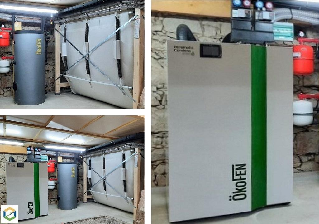 Installation chaudière à granulés de bois OKOFEN PELLEMATIC CONDENS PEK 222