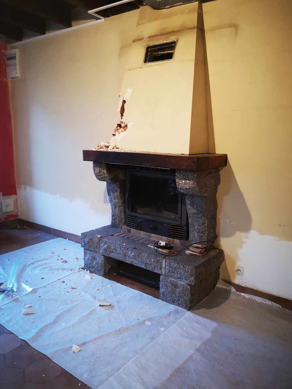 installation d'un poele a granulés en remplacemenr de cheminée
