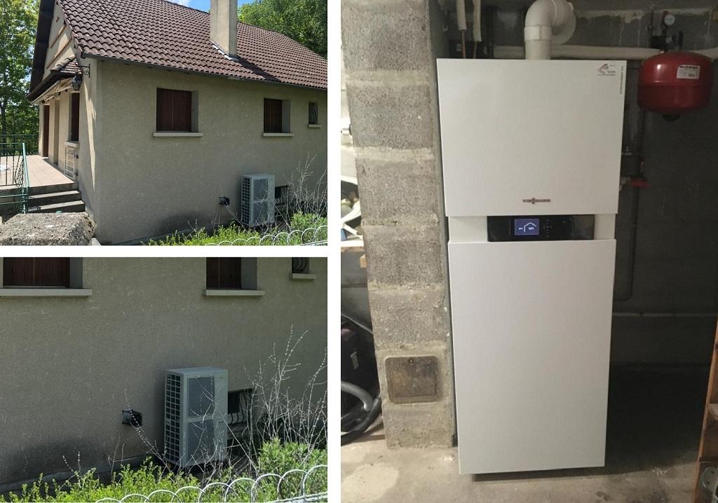 Installation pompe à chaleur air/eau hybride gaz