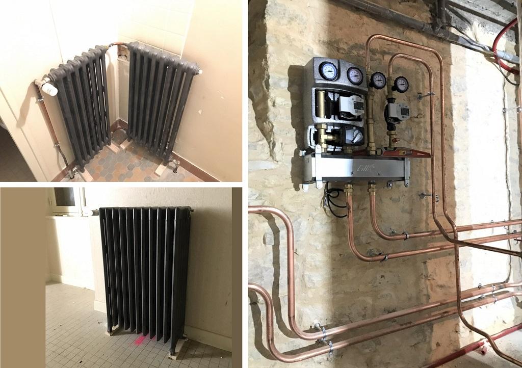 Création d'un chauffage central en cuivre & radiateur fonte - Gourdon - Lot - 46