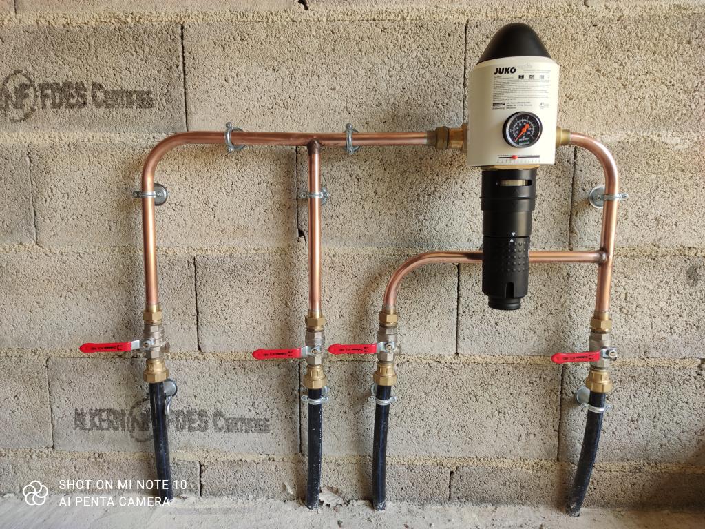 Plomberie et filtration sur arrivée d'eau