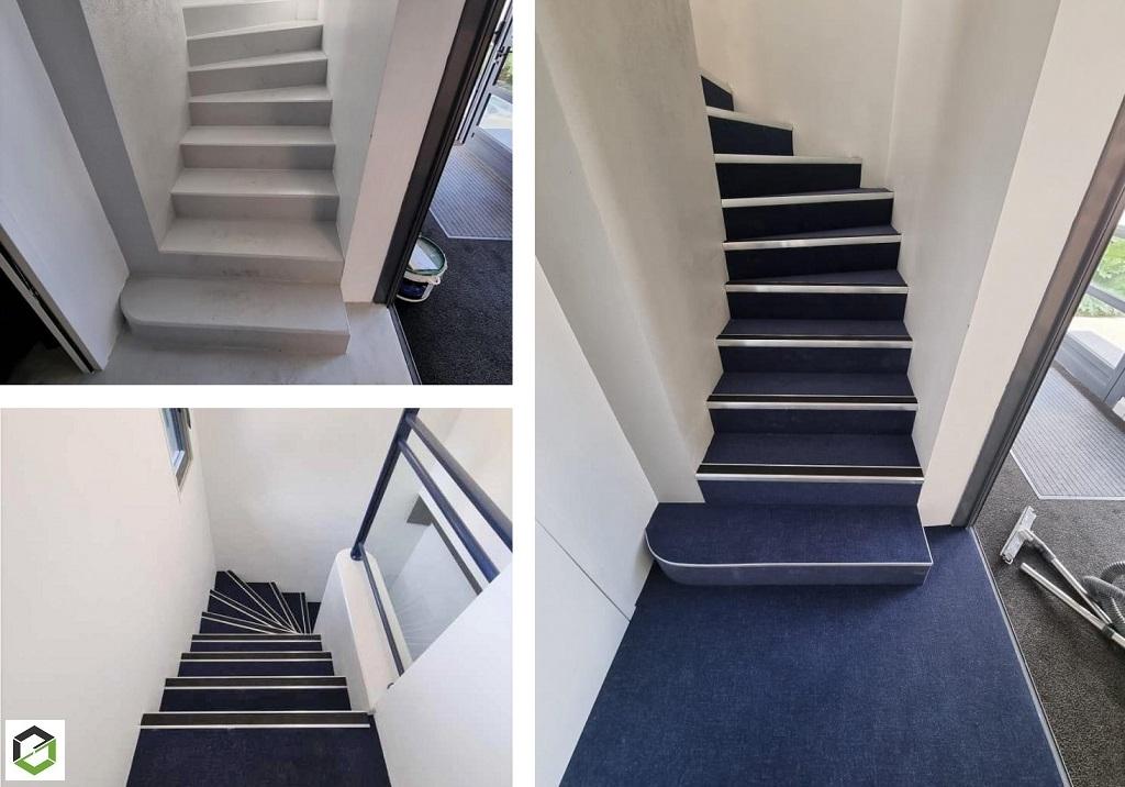 Habillage d un escalier béton par une moquette Flotex