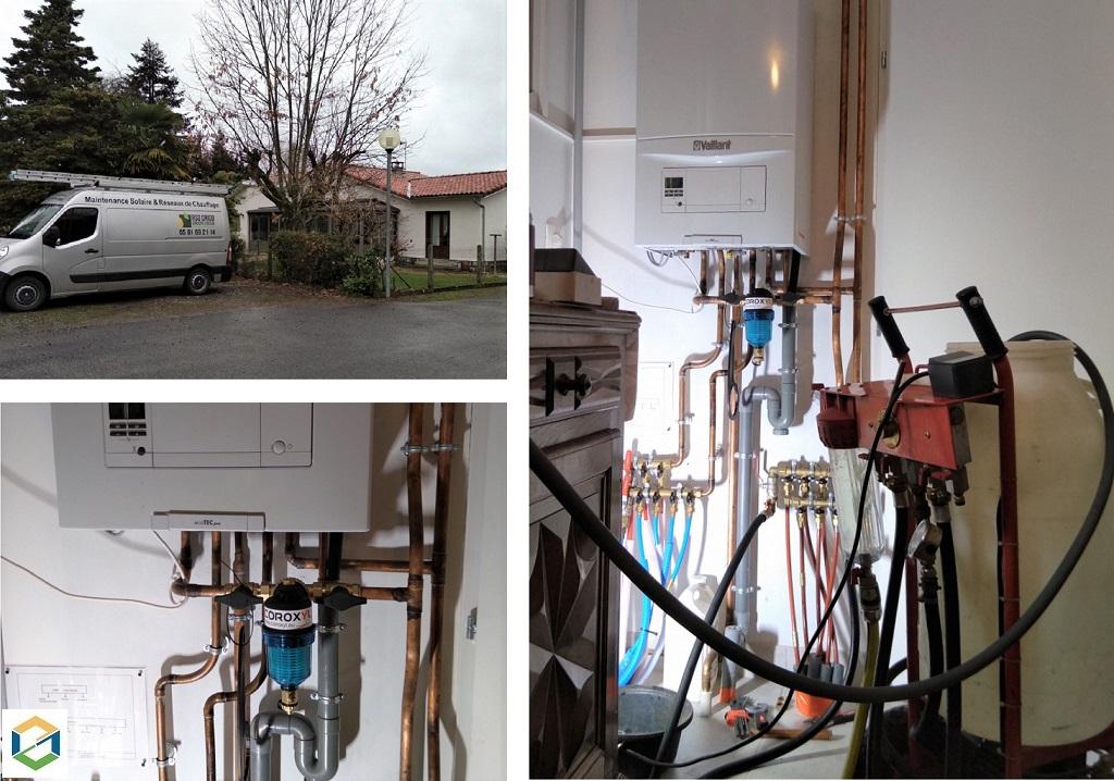 Désembouage installation de chauffage central par radiateurs fonte