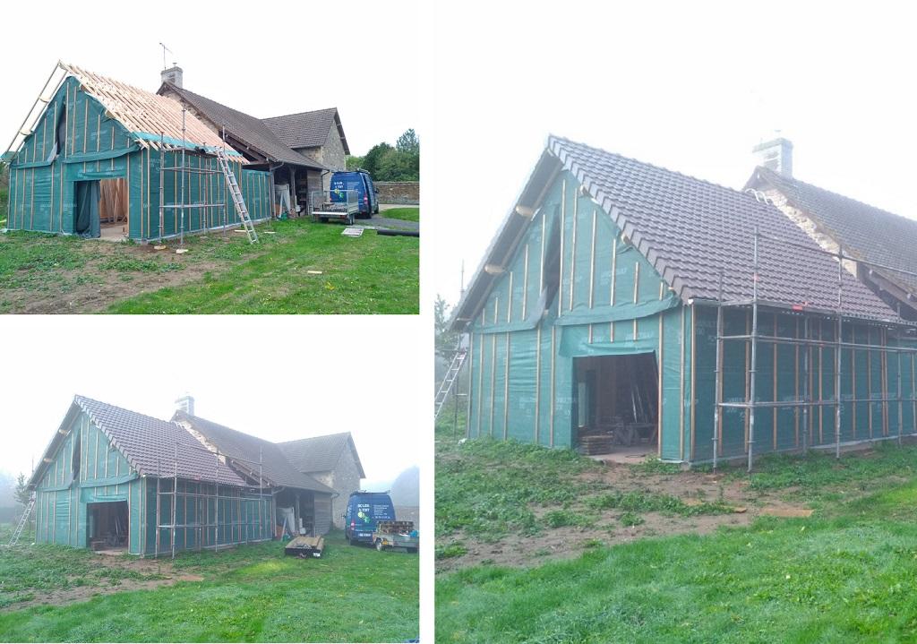 Couverture en tuiles d'une extension de maison en bois-Calvados (14)