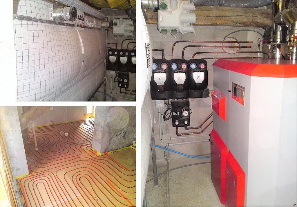 Installateur Solaricimes - chaudière granulés BIOTECH PZ 25 RL avec silo textile et pose de plancher chauffant