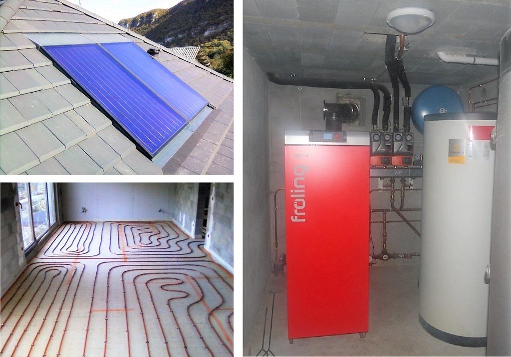 Installateur chaudière bois bûche FROLING S4 Turbo F de 15 kW, chauffe eau solaire (CESI) et pose de plancher chauffant