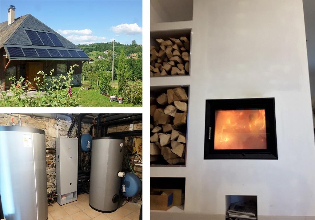 Installation chauffage solaire -SSC-SOLISART SC2 avec poêle hydro bouilleur HOXTER -Haute Savoie (74)