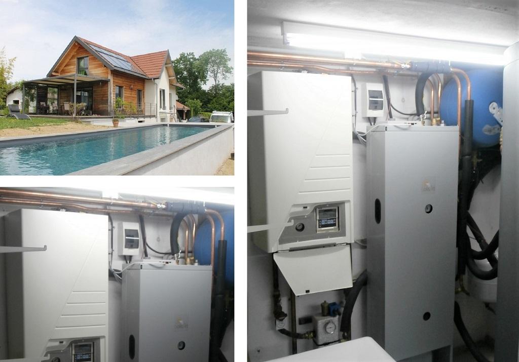 Installation chauffage solaire SSC avec chauffage piscine et ballon d'eau chaude-Savoie (73)