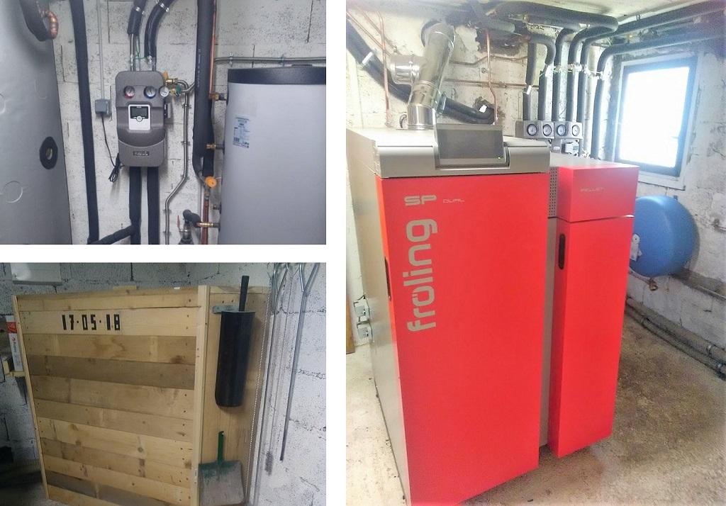 Installation chaudière bois bûche et granulés FROLING SP DUAL 15 kW et chauffage solaire (SSC)