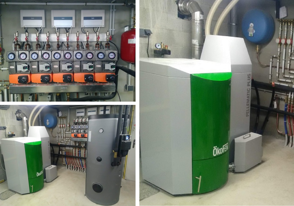 Installation chaudière granulés de bois OKOFEN PESK 25 à système d'aspiration de granulés silo bois -Haute Savoie (74)