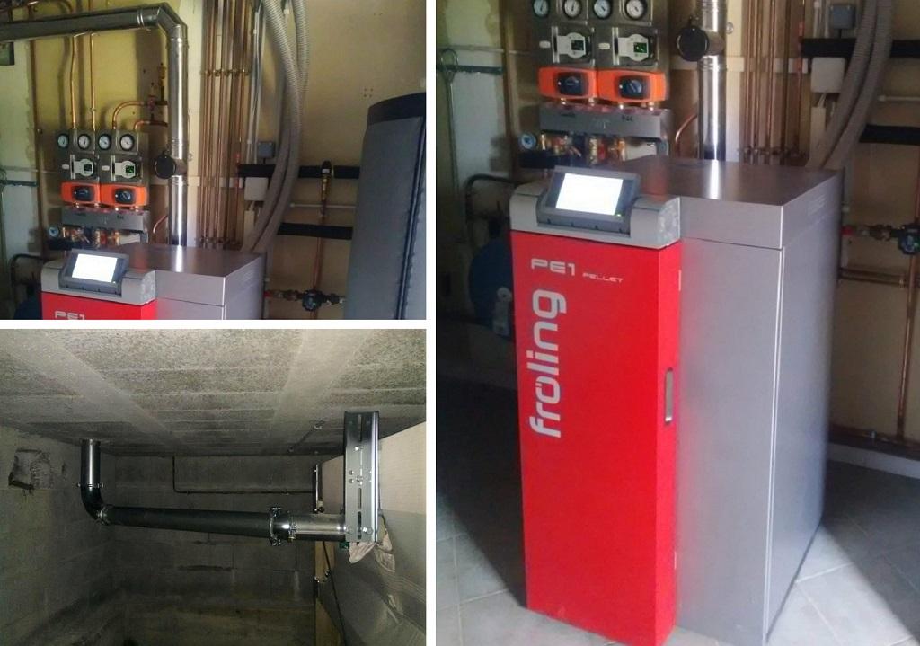 Installation chaudière granulés de bois FROLING PE1 10 avec silo textile et sonde d'aspiration