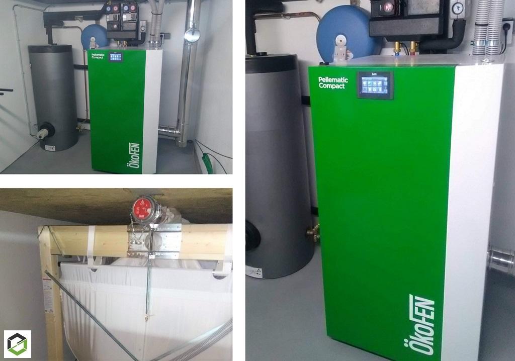 Installation chaudière granulés de bois OKOFEN PES210 à système d'aspiration de granulés avec silo textile KGT1818FRR