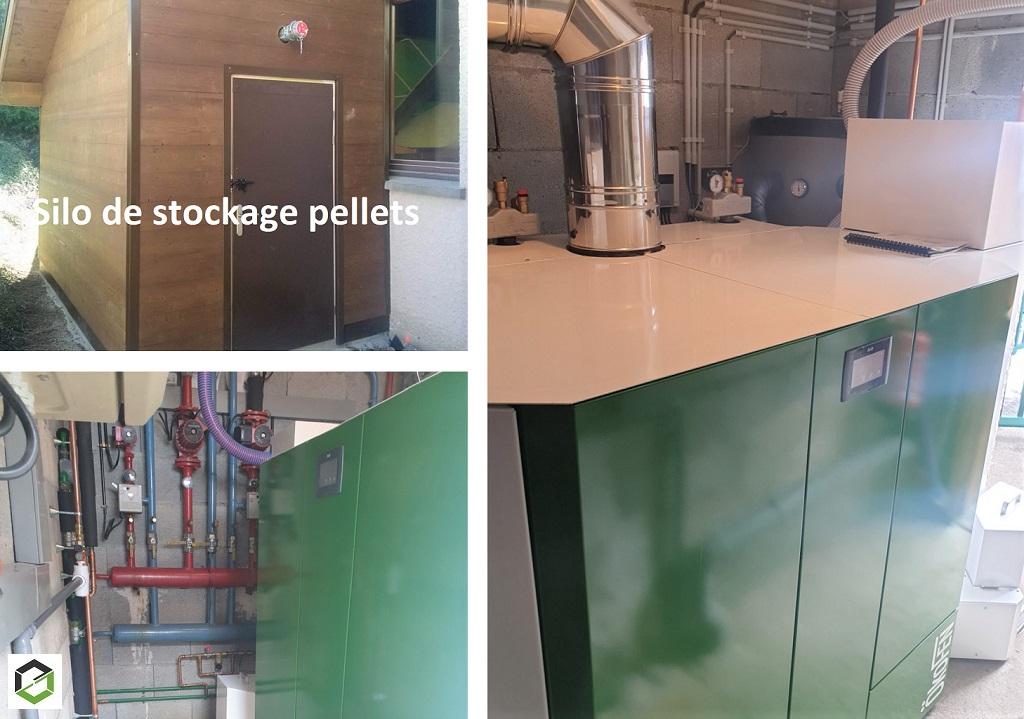 Installation chaudière granulés de bois COLLECTIF-OKOFEN PELLEMATIC MAXI TWIN PES96H (96 kW) à système d'aspiration de granulés avec silo textile KGT2820FR